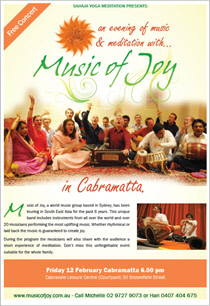 Evening of Music & Meditation in Sydney, Friday 12th February